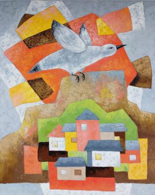 Svetlana Konstantinova. White bird flying over the city at sunrise