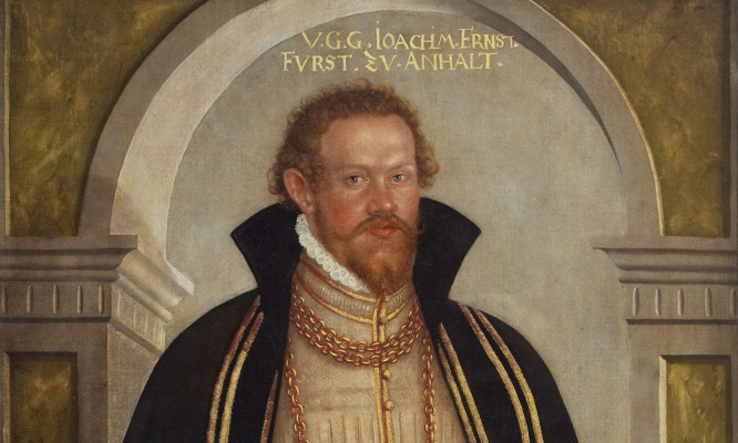 Lucas the Younger Cranach. Portrait of Joachim Ernst von Anhalt. Detail