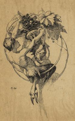 Franz von Pieces. Fawn with ritona. 1886 feather