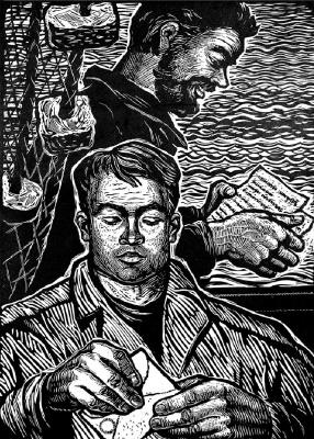 "Адольф Александрович Шевченко. Letters came. II from a series ""Collective farm fishermen"""