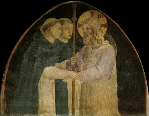 Fra Beato Angelico. Two Dominicans accept Christ in the form of a pilgrim. Fresco of the Monastery of San Marco, Florence