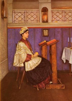 Исидор Кауфман. Молодая женщина в синагоге