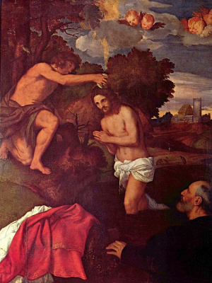 Titian Vecelli. The baptism of Jesus (with the client Giovanni RAM)