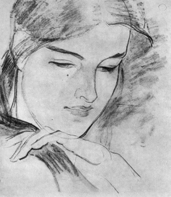 """Fedor Grigorievich Krichevsky. Katerina's head. A sketch for the paintings of the cycle """"Katerina"""" based on the poem by T. Shevchenko"""