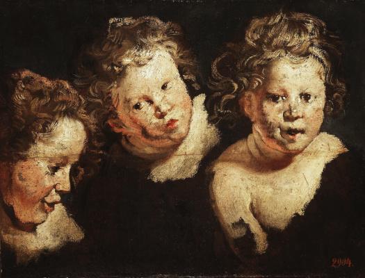 Якоб Йорданс. Three etudes of a children's head
