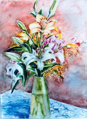 Сурен Бадалян. Цветы и синяя скатерть