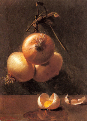 Берта Бач. Натюрморт с луком и треснувшими яйцами