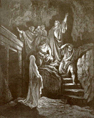 Paul Gustave Dore. Bible illustration: The Resurrection of Lazarus