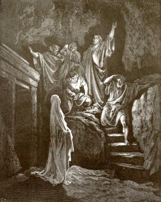 Paul Gustave Dore. Bible illustration: The Resurrection of Lazarus