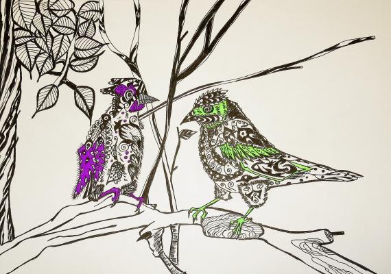 "Николай Николаевич Оларь. Series of stylized drawings, ""Birds"" (3)"
