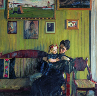 Boris Mikhailovich Kustodiev. Portrait of Y. E. Kustodieva with her daughter Irina