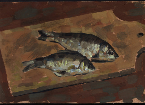 Alexander Isakov. Sketches of still lifes with fish