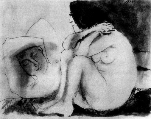 Pablo Picasso. Sleeping man and sitting woman