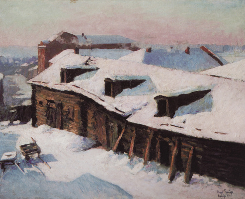 Igor Grabar. Old barn on a frosty day