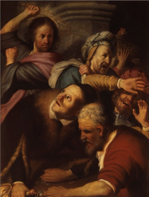 Rembrandt Harmenszoon van Rijn. The expulsion of the merchants from the temple