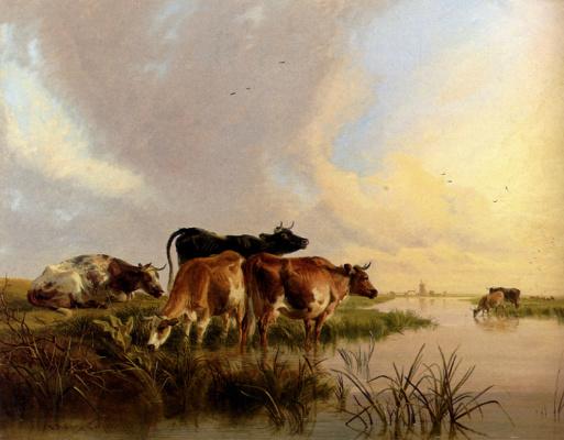 Томас Сидней Купер. Пастбище у реки