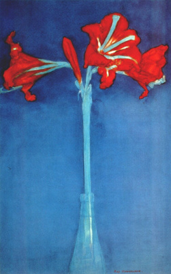 Piet Mondrian. Amaryllis on blue background
