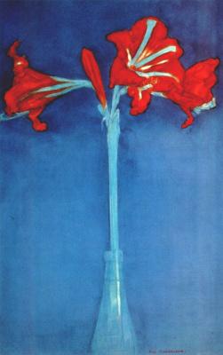 Amaryllis on blue background