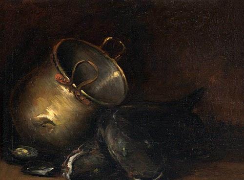 William Merritt Chase. Brass kettle, and som