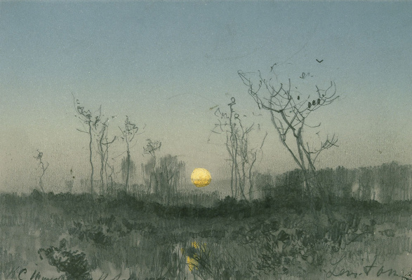 Isaac Levitan. Landscape with moon