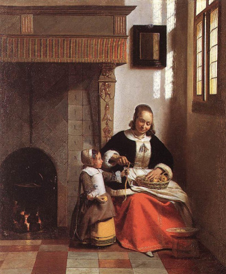 Питер де Хох. Женщина, чистящая яблоки