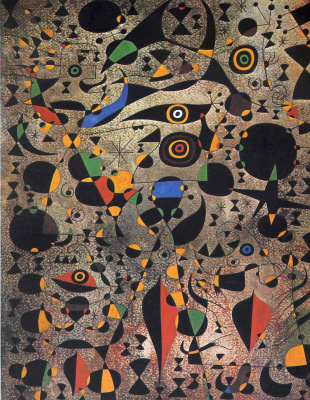 Joan Miro. Woman surrounded by flying birds