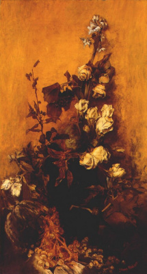 Hans Makart. Still life with roses
