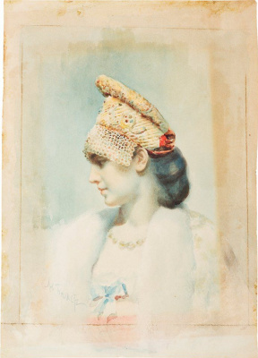 Lev (Leon) Bakst. Portrait of a girl in Russian kokoshnik