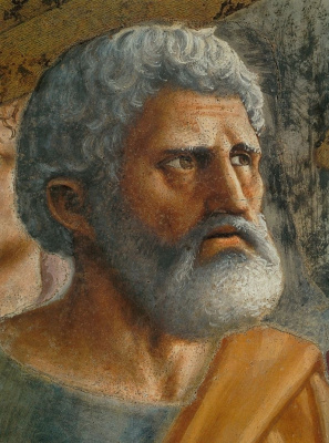 Tommaso Masaccio. Miracle with a statir (Payment of taxes). Fragment: Saint Peter
