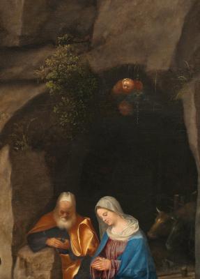 Giorgione. Adoration of the shepherds. Fragment: cave