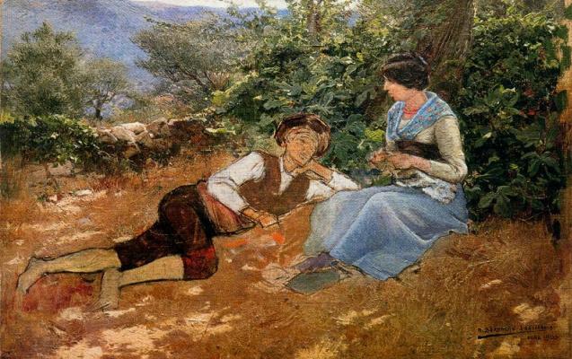 Мариано Барбасан Лагуерела. Молодой человек и девушка в саду