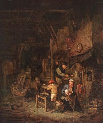 Адриан ван Остаде. Интерьер с крестьянской семье