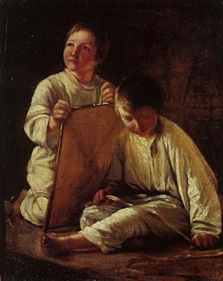 Alexey Gavrilovich Venetsianov. Two peasant boys with a kite