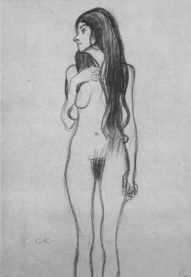 "Gustav Klimt. Standing Nude woman. Sketch for ""Beethoven Frieze. Gorgon"""