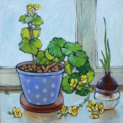 Dina Dmitrievna Kalinkina. Still life with begonia