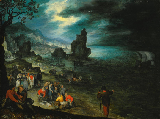 Jan Bruegel The Elder. Scene with fishermen on the coast