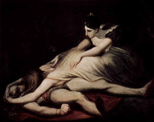 Johann Heinrich Fuessli. Krimhilda [02] embraces the dead Siegfried