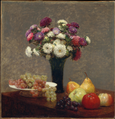 Анри Фантен-Латур. Астры и фрукты на столе