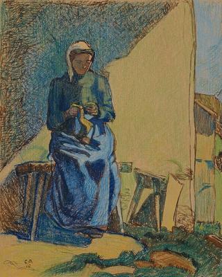 Куно Амье. Женщина за вязанием