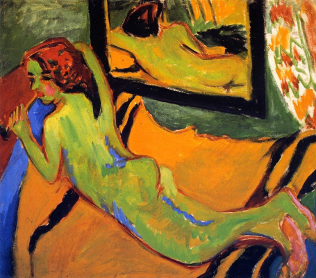 Ernst Ludwig Kirchner. Reclining Nude before a mirror
