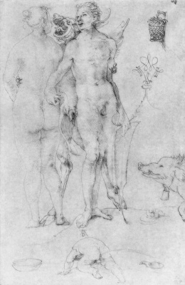 Albrecht Durer. Sketch with the couple and the devil
