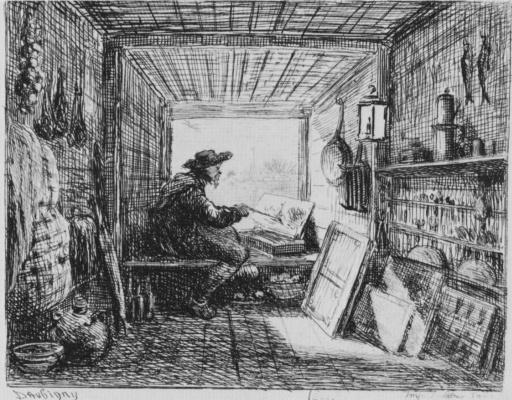 Charles-Francois Daubigny. Series Album journey in a boat, the artist's Studio in a boat