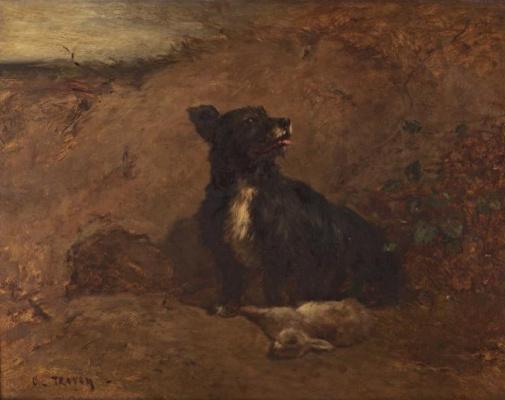 Констан Тройон. Собака и кролик.