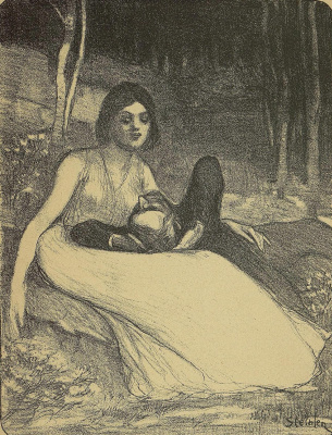 "Theophile-Alexander Steinlen. To the song ""She"". Illustration to the book by P. Delmas, ""Female songs"""
