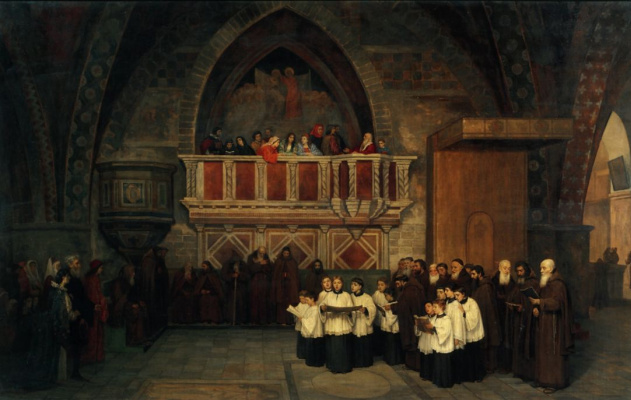 Mikhail Petrovich Botkin. Vespers in the Church. Francis of Assisi