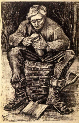 Рабочий, сидящий на корзине, режущий хлеб