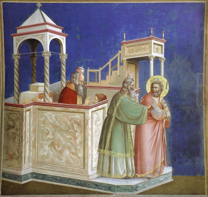 Giotto di Bondone. The expulsion of the childless Joachim from the temple. Scenes from the life of Joachim