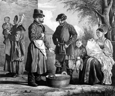 "Ignaty Stepanovich Shchedrovsky. Seller of fish. Sheet from the series ""Scenes from the Russian folk life"" 1846"
