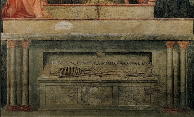 Tommaso Masaccio. The Holy Trinity. Fragment. Tomb of adam