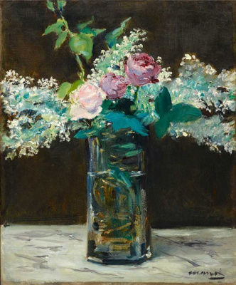 Edouard Manet. Vase of white lilacs and roses